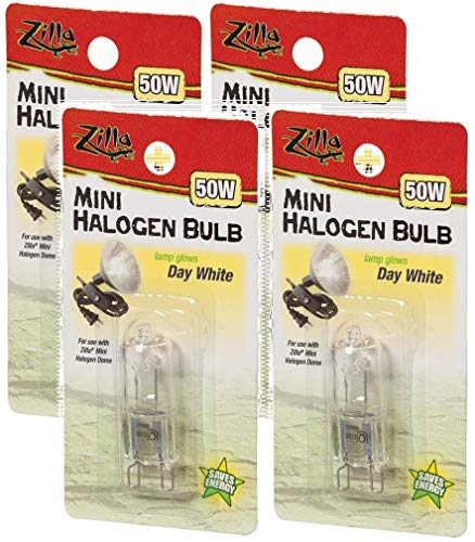 - Zilla 4 Pack of Reptile Terrarium Heat Lamps Mini Halogen Bulb, Day White, 50 Watts