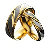 2pcs (1 Pair) Gold Like Stainless steel Couple Rings for Wedding, Anniversary, Engagement or as a Promise Rings