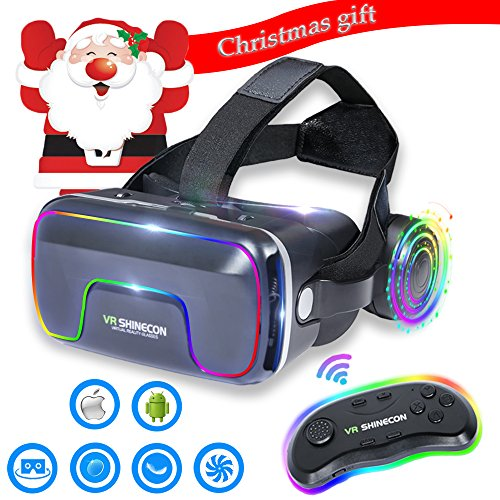 3D VR Glasses VR Virtual Reality with Bluetooth Remote Controller for 3D Games Movies& Lightweight with &Adjustable Pupil and Object Distance for Apple iPhone More Smartphones