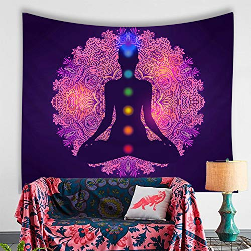 Chakra Wall Tapestry - 7 Chakras Indian Yoga Tapestry, Artwork Chakra for Home Decor 51x59 Inches (Chakra) ()