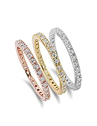 Sterling Silver Women's Stackable Eternity Rings Pure 925 Band 2mm Sizes 5-10