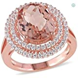 Sumanee Fashion 14K Rose Gold Filled Oval Cut Morganite Wedding Engagenent Ring Sz 6-10 (9)