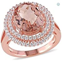 elegantshop Fashion 14K Rose Gold Filled Oval Cut Morganite Wedding Engagenent Ring Sz 6-10 (7)
