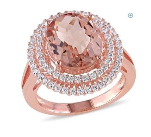 elegantshop Fashion 14K Rose Gold Filled Oval Cut Morganite Wedding Engagenent Ring Sz 6-10 7