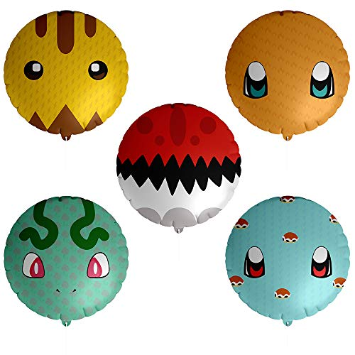 Totem World 15 Mylar Balloons for Kids Pokemon Theme Birthday Party Supply - 18 inch Inspired Pikachu, Charmander, Squirtle, Bulbasaur, and Poke Ball Balloon Decorations -
