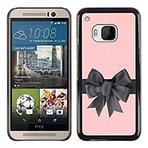 TopCaseStore / la caja del caucho duro de la cubierta de protección de la piel - Silk Gift Pink Grey Wrapper - HTC One M9