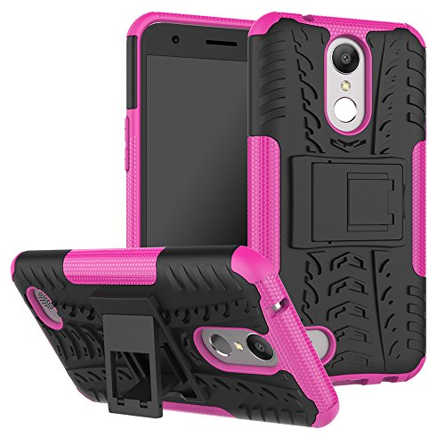 LG K20 V Case,LG K20/ LG LV5/ LG K20 Plus/LG K10 2017 / LG Grace/Harmony Case,Heavy Duty Protective Cover Dual Layer Hybrid Shockproof Protective Case with kickstand Hard Phone Case Hot Pink