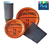 Spalding Basketball Party Supplies Pack for 18 Guests - Including Dinner Plates, Dessert Plates, Plastic Cups, and Napkins