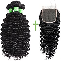 Brazilian Human Hair Bundles With Closure - 100% Unprocessed 7A Brazilian Deep Curly Human Virgin Hair 3 Bundles With Free Part Swiss Lace Closure Natural Color (10 12 14 + 10)