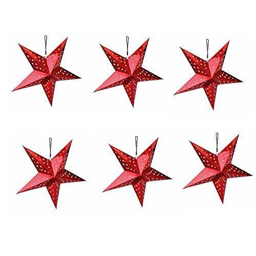 pentagramme Abat-jour 3d étoile en papier lanterne pour Noël Fête de mariage Maison Décorations à suspendre, Lot de 6, Silver, 40cm/17.7inch Gadgets mall