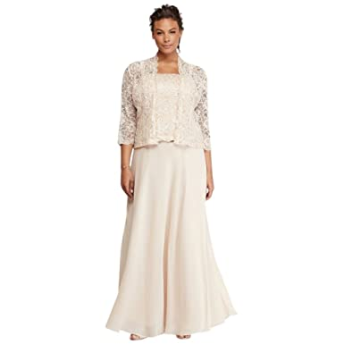308a57457da Petite Plus Size Mother of Bride Groom Dress with Sequin Lace Jacket Style  ES76540DB