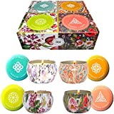 Big Aromatherapy Scented Candles Essential Oils Natural Soy Wax Portable Travel Tin Candle Set of 4 Gift Huge 6 Ounce tins 140 Hour Burn Long Lasting Fresh Citrus, Warm Amber, Wild Mint, Sweet Basil