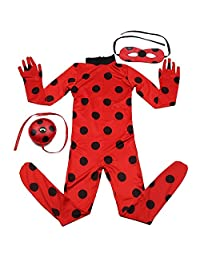 Kids Zip Miraculous Ladybug Cosplay Costume Halloween Girls Ladybug Marinette