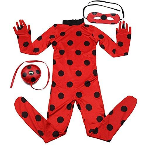 Kids Zip Miraculous Ladybug Cosplay Costume Halloween Girls Ladybug Marinette (M)