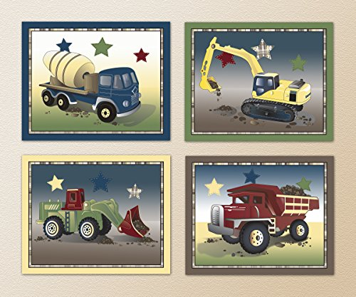 Construction Trucks Little Nursery Prints product image