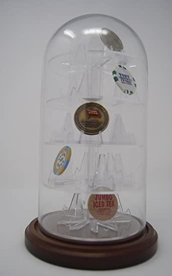25 Challenge Coin Glass Dome Holder with 5 tier acrylic insert /& 25 coinholders
