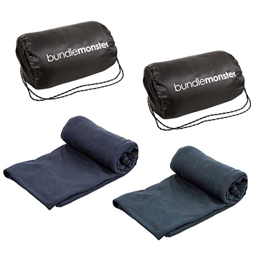 Bundle Monster | Sleeping Bag Liner Travel Sheet Camping Sleep Sack | Lightweight, Compact, Zippered Microfiber Fleece | Add Up to 10F Extra for Cold Weather Climates |Soft, Warm & Cozy - Navy/Gray