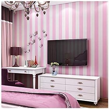Baby Nursery Room Kids Girls Room Pink White Striped Wallpaper ...