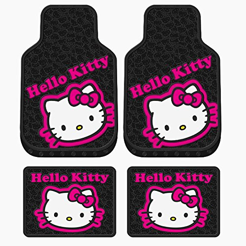 4-pc-hello-kitty-collage-black-pink-front-rear-rubber-floor-mats-new-universal