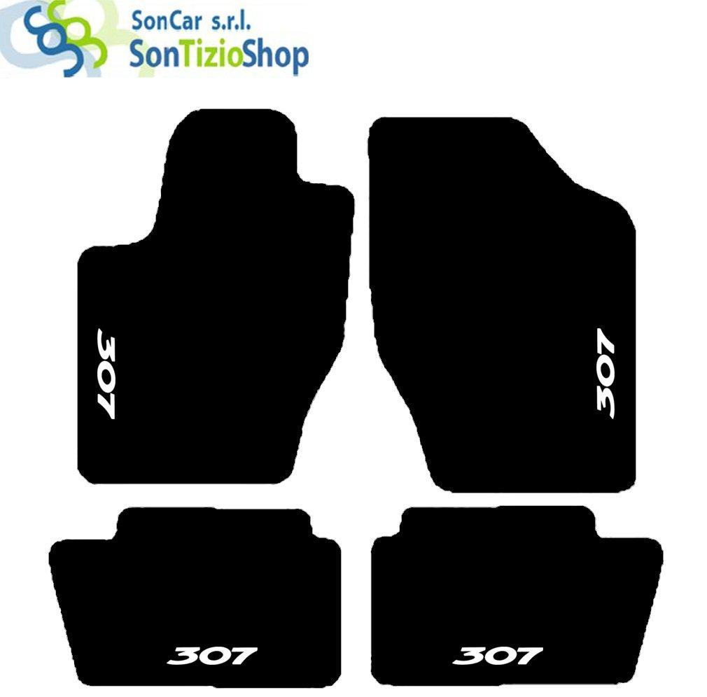 """SonCar - Tapis noirs pour voiture - Set complet de tapis artisanaux en moquette et sur mesure avec broderie """"307"""" Bianco"""