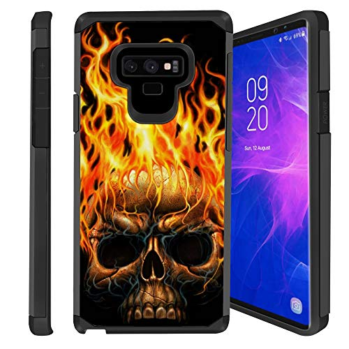 (Untouchble Case for Note 9, Samsung Galaxy Note 9 Case [Shock Bumper Case] Multi Layer Slim Fit Smooth Finish Case - Skull on Fire)