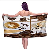 Onefzc Travel Bath Towel Kitchen Coffee Themed Collage of Beans Mugs Hot Foamy Drink with a Heart Macro Aroma Photo Super Soft Highly Absorbent W63 x L31 Brown White