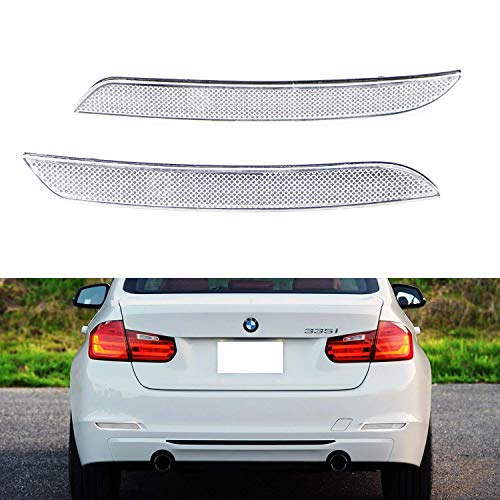 iJDMTOY Clear Lens Rear Bumper Reflector Lenses For BMW F30 F31 F32 F33 3 4 Series Regular Bumper, OE-Spec LH RH Assembly (Will NOT Fit Sports Bumper or -