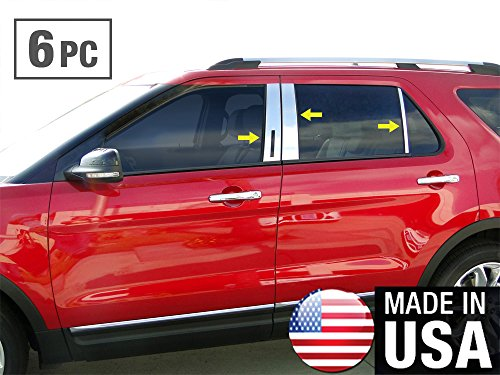 Ford Explorer Pillar Post - Made in USA! Works with 2011-2019 Ford Explorer 6PC Stainless Steel Chrome Pillar Post Trim