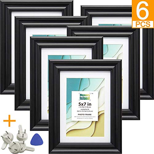 Memory Island, 5x7 Picture Frames with 4x6 Mat, Set of 6 Pack in Black Color, Vertical or Horizontal Display for Wall or Tabletop. Glass Fronts Photo Frame. ()