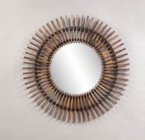 Natural Split Rattan Over Concentric Circles Mirror (Rattan Wall Mirror)