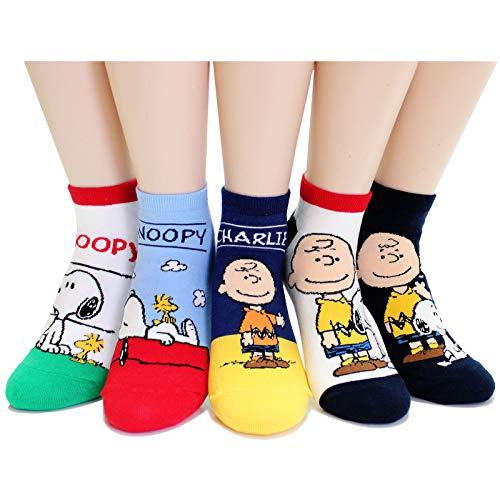 EVEI The Peanuts Snoopy Cartoon Movie Series Women's Original Socks (snoopy16_5pairs) -