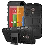 Moto G -1st Gen Case, ANGELLA-M Built-in Kickstand Hybrid Armor Case Detachable 2in1 Shockproof Tough Rugged Dual-Layer Cover Case for Motorola Moto G X1032 (1st Gen,2013) Black