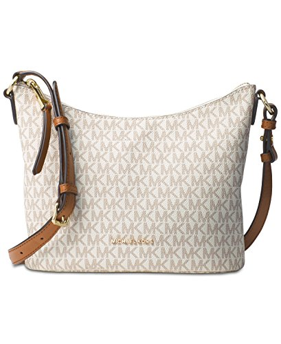 Michael Kors Womens Lupita Signature Leather Messenger Handbag Ivory Medium ()