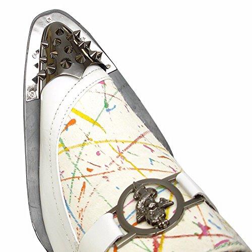Slip-on Per Uomo | Scarpe In Pelle Con Accenti Metallici, Sottopiede Confortevole | Calzature Da Uomo Bianche