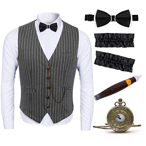 1920s Adult Men Gangster Gatsby Costume Stripe Vest Accessories Set - Armbands, Pre Tied Bow Tie, Toy Fake Cigar, Vintage Pocket Watch (XX-Large, Grey)
