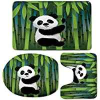 3 Piece Bath Mat Rug Set,Cartoon,Bathroom Non-Slip Floor Mat,Curious-Baby-Panda-on-Stem-of-the-Bamboo-Bear-Jungle-Wood-Illustration,Pedestal Rug + Lid Toilet Cover + Bath Mat,Fern-Green-Black-White