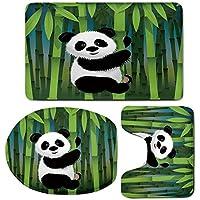 3 Piece Bath Mat Rug Set,Cartoon,Bathroom Non-Slip Floor Mat,Curious-Baby-Panda-on-Stem-of-the-Bamboo-Bear-Jungle-Wood-Illustration,Pedestal Rug + Lid Toilet Cover + Bath Mat,Fern-Green-Black-White