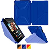 Kindle Fire HD 7 2014 Case, rooCASE Origami 3D Fire HD 7 2014 Slim Shell Folio Case Cover with Stand [Supports Auto Sleep/Wake Feature] for Amazon Fire HD 7 2014, Palatinate Blue / Aruba Blue