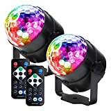Party lights Disco Ball LED Strobe Lights Sound Activated, RBG Disco lights,dj lights,Portable 7 Modes Stage Light for Home Room Dance Parties Birthday Bar Karaoke Xmas Wedding Show Club Pub with Remote (2 pack)