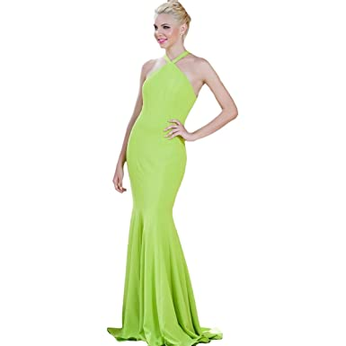 Jovani Halter Jersey Formal Dress at Amazon Women\'s Clothing store: