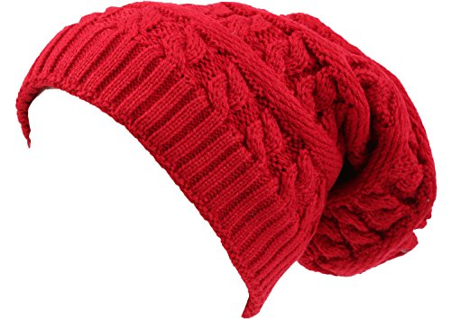 (Sakkas 16149 - Figaro Long Tall Classic Cable Knit Faux Fur Lined Unisex Beanie Hat - Red - OS)