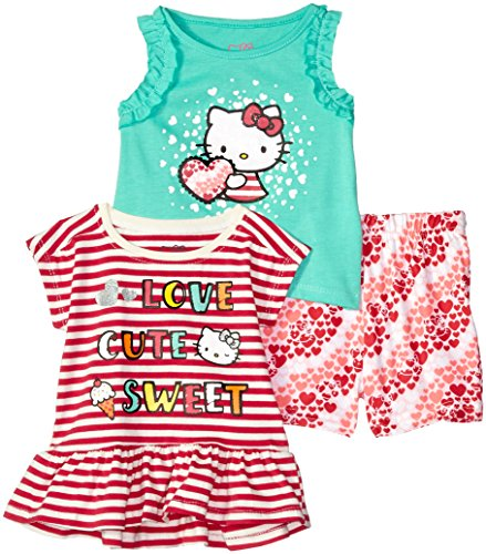 Hello Kitty Baby Girls 3 Piece Short Set with Fashion Tank Top, Poppy Red, 18M