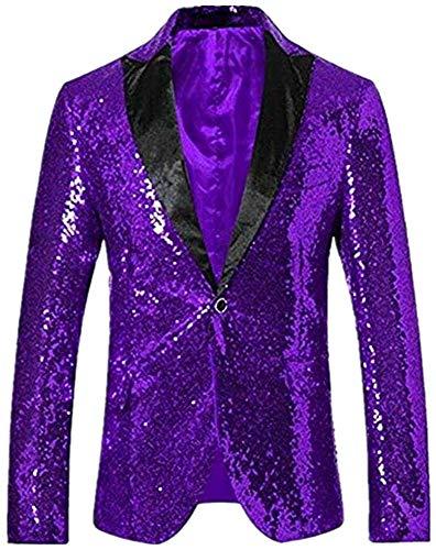 Men's Shiny Sequins Dress Suit Jacket Party Wedding Banquet Blazer Prom Tuxedo Purple ()