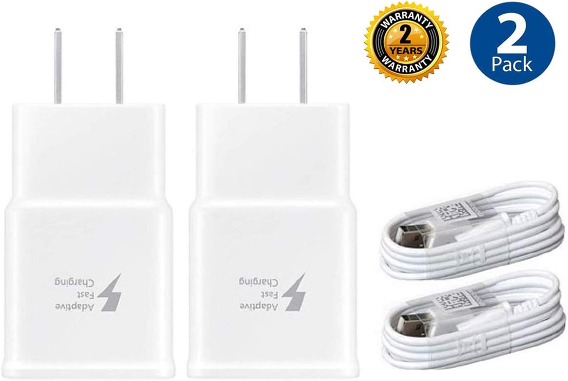 Adaptive Fast Charger Kit,LaoFas 2 Pack Fast Charging Adapter Travel Charger + (2) Micro USB Data cables-Wall Charger for Samsung Galaxy S7/S7 Edge/S6/Note5/4 /S3(White)