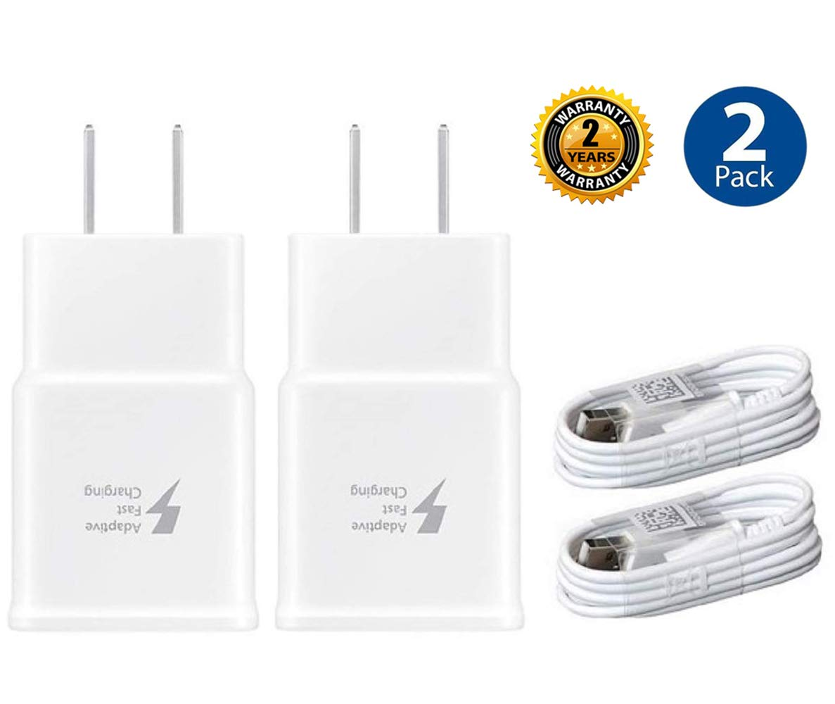 Adaptive Fast Charger Kit,LaoFas 2 Pack Fast Charging Adapter Travel Charger + (2) Micro USB Data cables-Wall Charger for Samsung Galaxy S7/S7 Edge/S6/Note5/4 /S3(White) by LaoFas