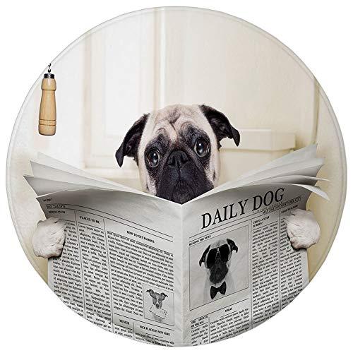 (WEWELA Round Rug Mat Carpet,Pug,Puppy Reading The Newspaper on The Toilet Bathroom Funny Image Pug Joke Print,Cream Black White,Flannel Microfiber Non-Slip Soft Absorbent,for Kitchen Floor)