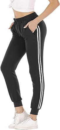 Mujer Pantalon Chandal Largos Pantalones De Deporte Yoga Fitness Jogger Pantalones De Punto De Rayas Con Cintura Elastica Y Bolsillos Sport New Amazon Es Ropa Y Accesorios