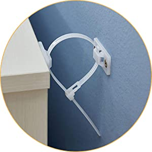 Furniture Straps (12 Pack) Wall Anchor Anti Tip Kit,Baby Proofing Anti Tip Furniture Anchors Straps,Adjustable Safety Nylon Straps,Cabinet Wall Anchors Protect Child and Pet from Falling Furniture