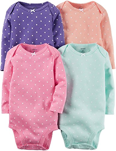 Carter's Baby Girls Multi-Pack Bodysuits 126g336, Assorted, 3 Months