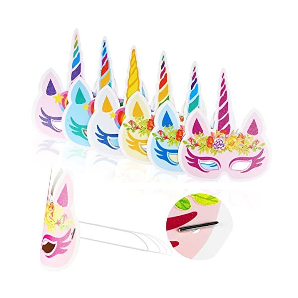 Lemoncy 12 Pack Rainbow Paper Masks Kids Birthday Masks Party Hat Eye Masks for Themed Party Favors 6